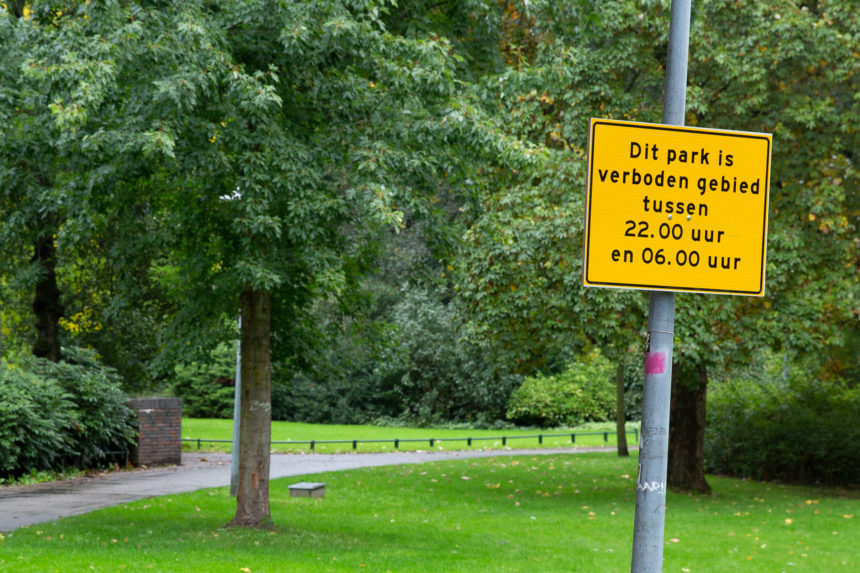 Wilhelminapark 's nachts verboden gebied